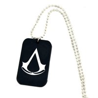 """Wholesale Silicone Balls For Dogs - 50PCS Lot Assassin's Creed Silicone Dog Tag Necklace With 24"""" Ball Chain, Perfect To Use In Any Benefits Gift For Gamer"""