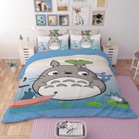 Wholesale Totoro Comforter Set - New 3D Bedding Set Bedsheet Reactive Printing Totoro Pattern Home Textiles Duvet Covers Bed Linen Pillow Cases Wholesale
