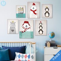 10pcs / lot Northern Europe Style Animals Impressão de posters Children Room Wall Art Decor Canvas Painting QS0002