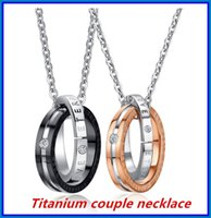 Wholesale Platinum Plated Couple Necklace - Stainless Steel Couple Necklace Lover Pendant DHL Valentine's Day Jewelry Gift Golden Color and Silver Color bea025