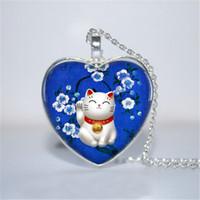 Wholesale Lucky Cat Wholesalers - 10pcs lot Blue Maneki Neko Pendant, Maneki Neko Necklace, Lucky Cat Heart Necklace Glass Photo Cabochon Necklace