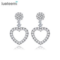 Wholesale Gold Earrings Brilliant - LUOTEEMI High Quality Brincos White Gold-Color Luxury Inlay Zircon Fashion Brilliant Heart Ladies Wedding Stud Earring Bijoux