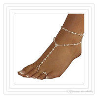 Wholesale Wedding Pearl Sandals - Fashion Wedding Foot Jewelry Anklet Chains Women Beach Imitation Pearl Barefoot Sandals Foot Jewelry Crystal Sandals Anklets Free DHL