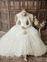 Wholesale Sheer Ankle Length Robe - 2017 Vintage Ankle Length Ball Gowns Wedding Dresses Modest Lace Long Sleeves Bridal Gown Sheer Neckline Robe Mariage