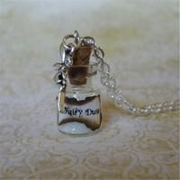 fee glasflasche großhandel-12 teile / los weiß Fee Staub Halskette weiß Pixie Staub Fantasy Schmuck Fairy Charm Glasflasche Anhänger