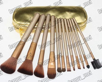 Wholesale makeup tools accessories - Factory Direct DHL New Makeup Tools Accessories Makeup Brushes Pieces Brush With Gold leather Pouch