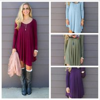 Wholesale Wholesale Long Tunic Tops - Women Clothing Shirt Dresses Irregular Loose V-neck Long-sleeved Empire Waist Dresses Top Plus Tunic Boho Dresses YYA152