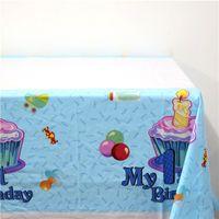 Wholesale plastic tablecloth decorations - Wholesale- 1pcs\lot Happy 1 st Birthday Party Kids Favors Cartoon Blue Plastic Tablecover Baby Shower Maps Decoration Tablecloth Supplies