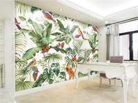 Wholesale tv birds resale online - 3D stereo tropical garden flower bird painting style wallpaper bedroom TV background personality wallpaper mural Home Decor Wallpaper