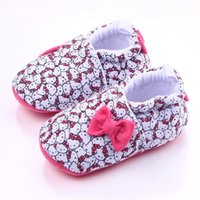Wholesale cute sweet boys - Wholesale- New Sweet Lovely Cute Cartoon Cats Bow Cotton Newborn Baby Girl Princess Prewalker Soft Soled Shoes Crib First Walkers Shoe