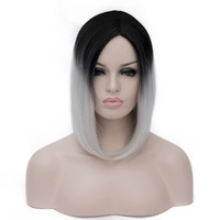 Модный женский леди Short Straight Hair Full Wig Silver Black Ombre Costume Нет Bangs Peruca Feminina Peruca Perruque