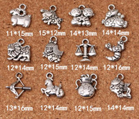 Wholesale tibetan jewelry accessories wholesale - 12 Zodiac Signs Pendants Charms Tibetan Silver Two Sided Delicate Fittings Accessory for DIY Jewelry Making