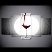 arte de la pared lienzo vino panel al por mayor-5 Unids / set Enmarcado HD Impreso Wine Glass Light Home Wall Decor Poster Arte de la Lona Pintura de Pared Cuadros de Pintura Modular