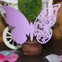 Wholesale Marriage Card Decoration - 50pcs lot free shipping Laser Cut Wedding Party Pearlescent Table Name Place Cup Cards hollow Butterfly Design Wedding Favors Party Supplies