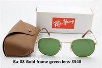 Wholesale Circular Lenses - 1pcs AAA+ high quality fashion men's women's retro circular irregular hexagonal sunglasses gold frame green glass lens brown case