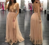 Wholesale Maxi Dress Front Sexy - Sexy Deep V-Neck Spaghetti Straps Rose Gold Sequins Prom Dresses 2017 Champagne Black Burgundy Sequined Side Split Long Maxi Evening Dress