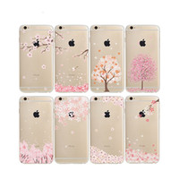 Wholesale Iphone Case Cherry Blossom - Cherry Blossoms Painting Cases Soft TPU Clear For Samsung Galaxy S8 Plus S6 S7 EDGE J5 J7 Prime Iphone 7 6S Plus