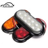 "Wholesale oval led lighting 12v - 1Pcs 12V 10LED 6"" Oval LED Truck Trailer Stop Turn Brake Tail Light Warmming Light"