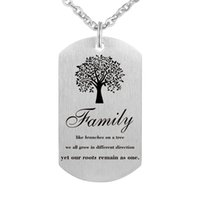Wholesale One Direction Dog Tags - Pendant Necklace - Family like branches on a tree, we all grow in different direction ye our roots remain as one.