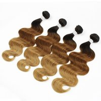 4 Bundles 8A Ombre en couleur Cheveux humains Onglet Body Wave T4 30 27 Brown Brown Peruvian Cambodgian Indian Hair Extensions