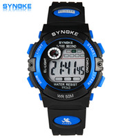 Wholesale Girl Diving Watches - SYNOKE Children Watch Sports Diving Watches LED Digital Wristwatch 50M Waterproof Rubber Kids Clock Boys or Girls Students Wristwatches