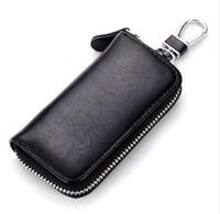 deri cüzdan anahtarlık toptan satış-İnek Deri Erkek Kadın Araba Anahtarı Çanta Cüzdan Çok Fonksiyonlu Anahtar Kutu Moda Kahya Sahipleri 6 Anahtar Yüzükler
