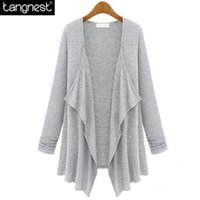 Wholesale Women Loose Fitting Sweaters - Wholesale-TANGNEST Fashion Brief Solid Loose Cardigan 2016 Woman Ruched Basic Open Stitch Sweater Casual Knitted Coat All Size Fit WWK473