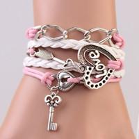 Wholesale Pink Infinity Rope Bracelet - 2016 New Handmade Bracelet Lock key Cupid's Arrow Charms Infinity Bracelet White Pink Leather Bracelet Women Best Couple Gift