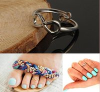 Wholesale Jewellry Rings - Lady Women Toe Rings Vintage Simple Infinity Midi Finger Ring Unique Gold Silver Adjustable Foot Jewelry Beach Retro Stylish Body Jewellry
