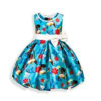 Wholesale Dress Necklace Chiffon - Girl Moana princess dress Beading Necklace bowknot dress kids princess party birthday lace sleeveless dresses B001