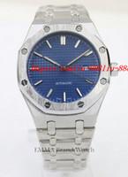 ingrosso orologi originali di design-Orologi da polso di lusso da uomo di marca quadrante blu 42mm orologi automatici da uomo Design Fashion Full acciaio inossidabile originale orologio da chiusura