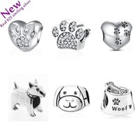 Wholesale Pandora Dog - 925 Sterling Silver Curious Cat Panda Lion Dog Animal Charm Fit Pandora Bracelet Jewelry With Clear CZ DIY Jewelry heart Makin