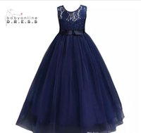Wholesale Toddler Lace Navy Dresses - Navy Blue Cheap Flower Girl Dresses 2017 In Stock Princess A Line Sleeveless Kids Toddler First Communion Dress with Sash MC0889