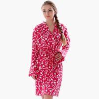 Wholesale Women S Soft Robes - Wholesale- 2016 Spring Autumn Ladies Plus Size Soft Fleece Red Robe Love Lingerie Dressing Gown Kimono Sleepwear Bathrobe For Women