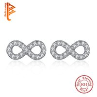Wholesale BELAWANG Real Sterling Silver Earrings with Micro Pave CZ Crystal Infinity Stud Earrings For Women Forever Love Jewelry Wedding Gift