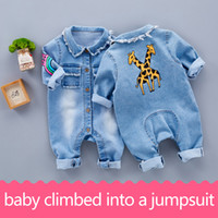 Wholesale Baby Denim Overalls - Little Baby Toddler Clothes romper jeans Jumpsuit Overalls Rompers with cute Rainbow Giraffe pattern Unisex