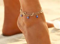 ingrosso sandali perline-2 stile turco occhi perline cavigliera per le donne 2017 sandali Pulseras Tobilleras Mujer ciondolo cavigliera braccialetto piede estate spiaggia gioielli