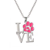 special forever - Fashion Special Design Love shape Forever Love Pink Puppy Dog Paw Print Pink Enamel Necklace Zinc Alloy Rhodium Plated Pink Enamel Jewelry