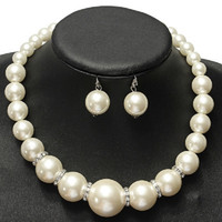 Wholesale Crystal Rhinestone Choker Necklace Earring - Imitation pearls Bridal Jewelry Sets Fashion Crystal Wedding Gift Classic Statement Collar Choker Necklace Earring Sets for Women Wholesale