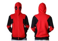 personajes cosplay anime al por mayor-2017 Deadpool Hoodie Marvel Hooded Hombres Sudadera Zipper Chaqueta Chaqueta 3D Anime Personajes Hoodies Deadpool Cosplay Traje