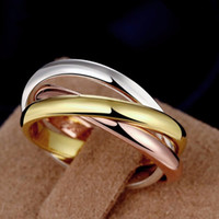 Wholesale China Trade Jewelry - Titanium brand jewelry wholesale boutique trade contracted selling three ring three color plain love ring of male and female lovers ring