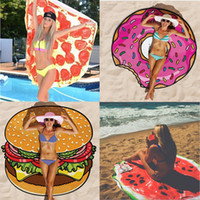 Wholesale Hamburger Wrap - Pizza Hamburger Watermelon Beach Shawls Women's Swimwear Paisley Shawl Scarves Sunscreen Round Beach Towels Cover-ups Wrap Chiffon Sarongs