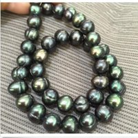 "Wholesale South Sea Pearls Baroque - baroque 18"" 10-11 MM AAA SOUTH SEA Black green PEARL NECKLACE 14K GOLD CLASP"