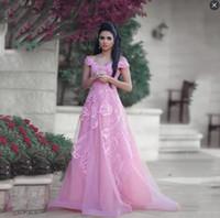 ingrosso vestiti lunghi dal manicotto lungo rosa caldo-Hot Pink Off The Shoulder Prom Dresses Long Tulle Yong Girls Abbigliamento formale Abiti quinceanera Appliques in pizzo Abiti da sera formali Maniche