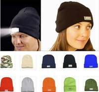 Wholesale Dome Camping - LED Lighting Knitted Hats Women Men Camping Cap Travel Hiking Climbing Night Hats Warm Winter Beanie Light Up Cap