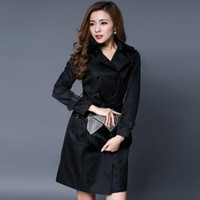 Wholesale Long Womens Dress Coats - Black khaki red woman spring coat England Double-breasted slim trench coats for womens star style dress female british style