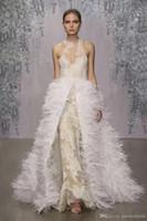 Cheap detachable train feather wedding dress - ostrich feather detachable overskirt wedding dresses 2017 monique lhuillier lace wedding gowns stunning jewel neckline bridal gowns