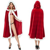 Wholesale Capes Costume Red Riding Hood - Women's Red Riding Hood Cape with Hood Halloween Costumes Fairytale Princess Christmas Costume Cosplay