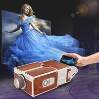 Wholesale Smartphone Hdmi - Wholesale-Smartphone Projector DIY Cardboard Mobile Phone Projector Portable Cinema Without Power Supply