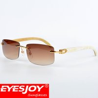 Wholesale Stainless Leg - White Buffalo Horn Sunglasses Luxury Gold Men Brand Designer Fashion Unisex Horns Legs Frameless Sunglasses With Red Box and Accessories